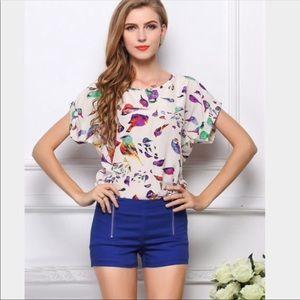 Tops - Bird Print Shirt NWT Top Chiffon White Blouse